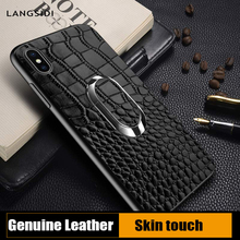 Genuine Leather Magnetic bracket phone case for iphone 7plus 6 8 XS XR business Multifunction Finger Ring x