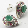 Silver Fancy emrald, rubi & BLUE SAPPHIRE COLORFUL Stud Earrings 1.4 CM