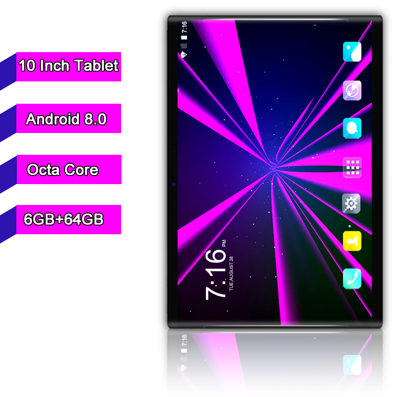 Free Shipping 10.1 Inch Tablet Pc Android 8.0 Octa Core 6GB+64GB 8MP Camera 1280*800 IPS Dual SIM Card WIFI GPS Tablets 10