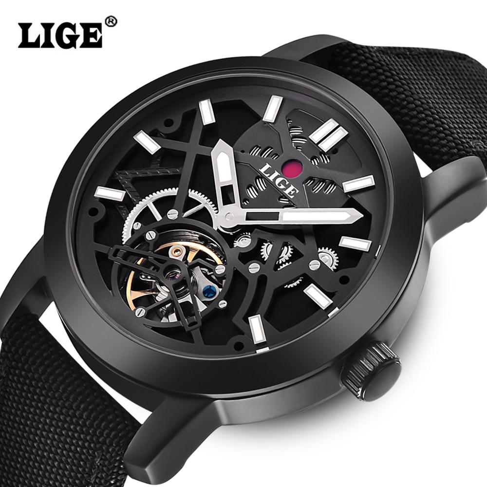 LIGE Luxury Brand Automatic Mechanical Watch Men Military Waterproof Wristwatches Canvas Skeleton Watch Relojes Hombre Clock уровень ada cube 360 ultimate edition