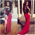 Sexy Mermaid Long Sleeve Velvet Prom Dresses Appliques Formal Woman Prom Gowns vestidos de baile
