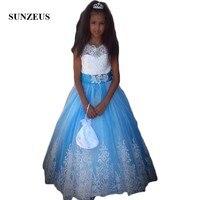 Белый топ синяя юбка трапециевидной формы Платье в цветочек для девочек майка с кружевной аппликацией блестками девушки Pageant Платья для веч
