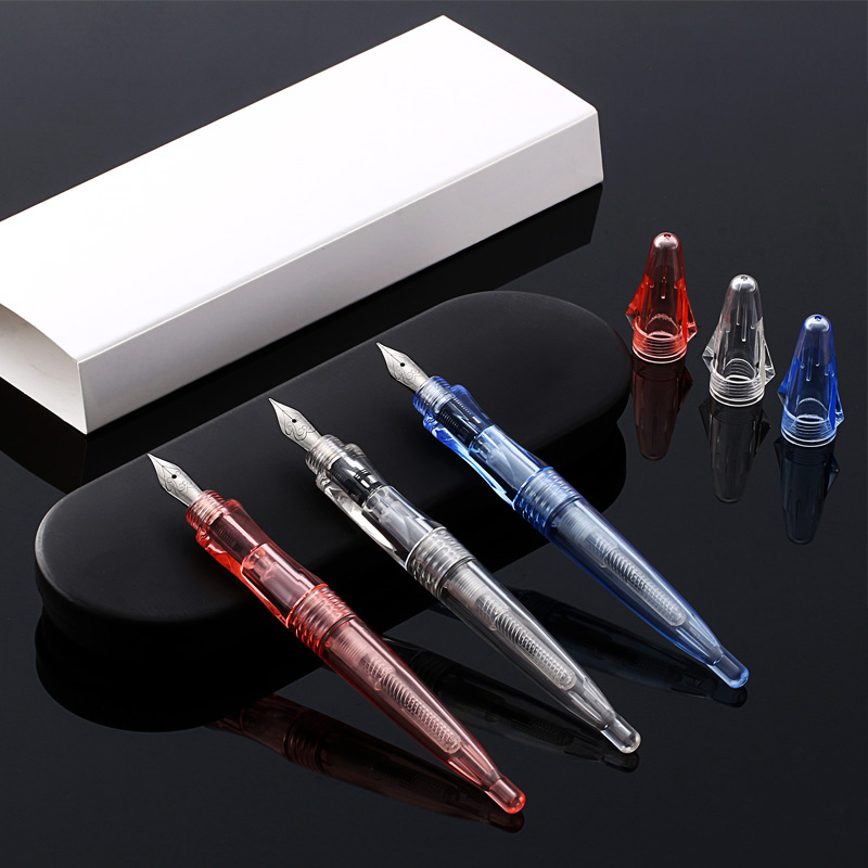 premium 0.5mm high transparent iridium nib fountain pen + 1 dropper + 2 sacs + 1 gift box excellent writing hot sale SKB F12 schneider id stainless steel with iridium f tip resin body fountain pens leather gift box set iridium pen writing supplies