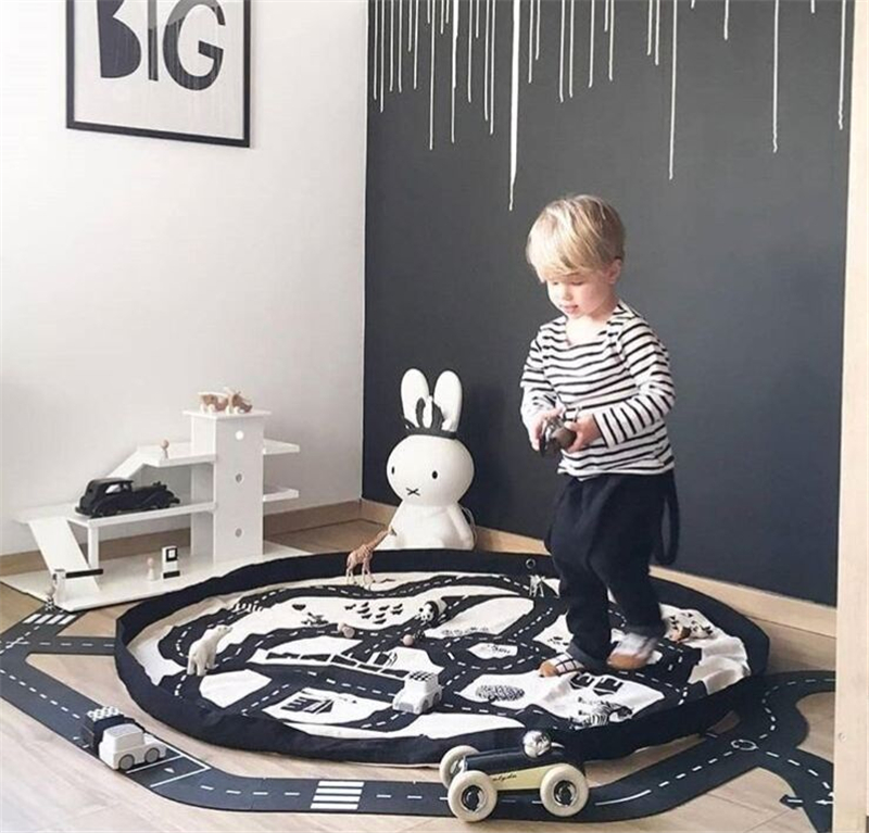 Multi-function Portable Children Round Highway Play Game Mat Kids Toy Storage Bags Plus Size Baby Crawling Carpet 140x140cm Size