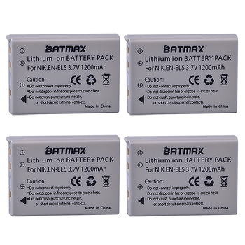 High capacity 3.7V 1200mAh Li-ion Batteries(4-PACK) EN-EL5 ENEL5 EN EL5 for Nikon Coolpix 3700 Coolpix 4200 5200 Coolpix 5900 фото