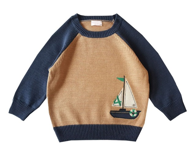 3a7a115419fe Baby Boys Knitted Pullovers Sweaters Cotton Cartoon Patch Embroidery ...