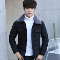 Winter New Pattern Japanese Lapel Leisure Time Cotton Padded Clothes Male Thickening Parka Jacket Men Free