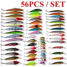 56PCS Fishing Lure Hard Bait Soft Lure Kits Fishing Tackle Wobbler Spoon Pesca Peche Artificial Fishing Set цена