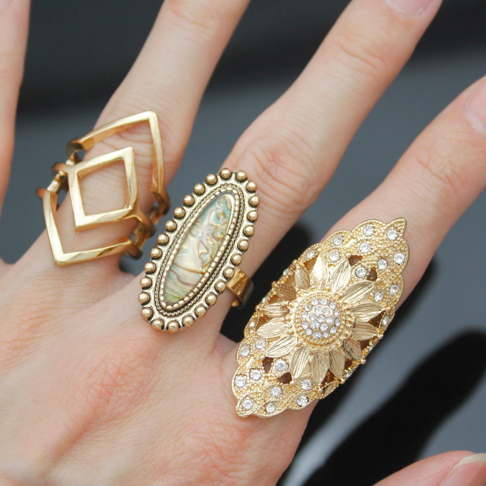 Pack 3 Gold Religious Mandala Lotus Flower Sacred Geometry Indian Band Ring  Set Jewelry Party Runway