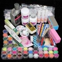 High Quality Acrylic Nail Gel Manicure Art Tips Powder Liquid Brush Glitter Clipper Primer File Set