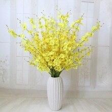 Танцующая леди Орхидея, цветы из шелка искусственный цветок oncidium гостиной и спальни украшения ткани и кружева желтая голова