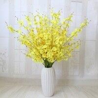 Tanzen Dame Orchidee seide blume künstliche blume oncidium wohnzimmer und schlafzimmer dekoration stoffe und spitze gelb kopf
