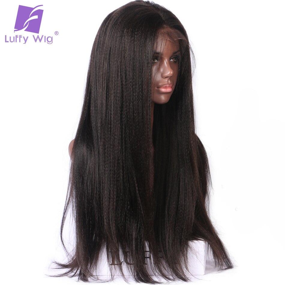 Луффи яки прямо 13*6 длинные пространство 180% Плотность Синтетические волосы на кружеве натуральные волосы парики бразильский не Волосы remy на...