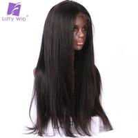 Luffy Yaki прямые 13*6 длинные пространство 180% плотность кружева передние человеческие волосы парики бразильские не Реми волосы натуральный цвет