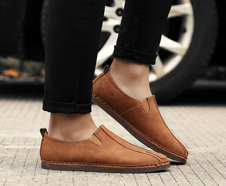 black 2018 Chaude gray Automne Nubuck Daim Casual En Hommes Conduite Vintage Cuir Rétro Mode Confortable Brown De Chaussures Mocassins Homme UCnqUgx