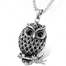 Fashion jewelry Europe and America Man&woman Stainless Steel Owl Pendant Necklace Gift#200
