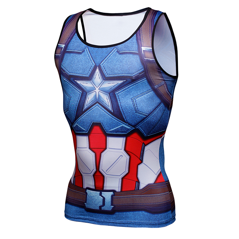 Captain America 3 Men G YM Tank Tops 3D Print Men Bodybuilding Tank Top Fitness Shirt