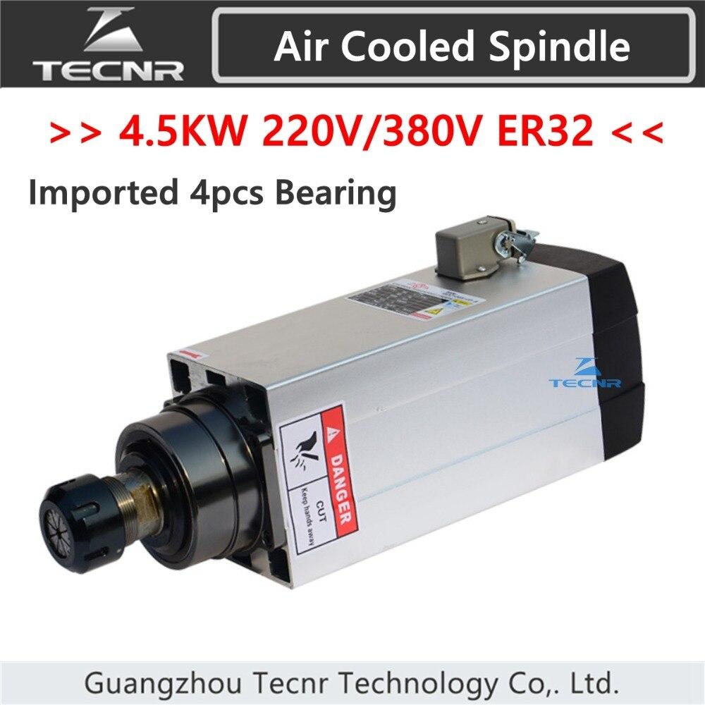 TECNR 4.5KW هوا اسپیندل موتور خنک کننده 220V 380V با یاطاقان سرامیکی 4 عیار
