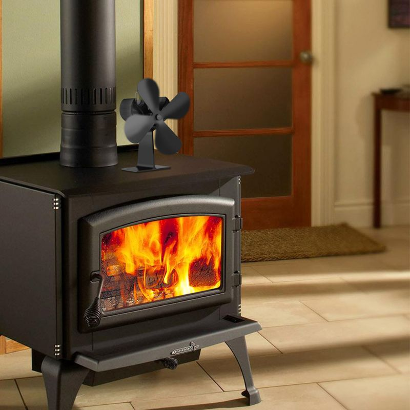 Wood Heater 4 Blades Stove Eco Fan Stove Fireplace Fire Heat Powered Circulating Fans Ultra Quiet Black Color