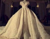 Stunning Grand Empire V Neck Wedding Dress Off the Shoulder Royal Train High end Bridal Gown Custom Size Zipper Back Gown