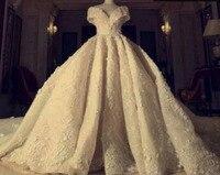 Tuyệt đẹp Đại Empire V Neck Wedding Dress Off the Vai Hoàng Train Cao cấp Bridal Gown Kích Cỡ Tùy Dây Kéo lại Gown