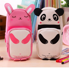 Cute Panda Large Capacity Pen Pencil Case Pen Box School Stationery Makeup Cases Cosmetic Bag Zipper Pencil Case Storage Supply