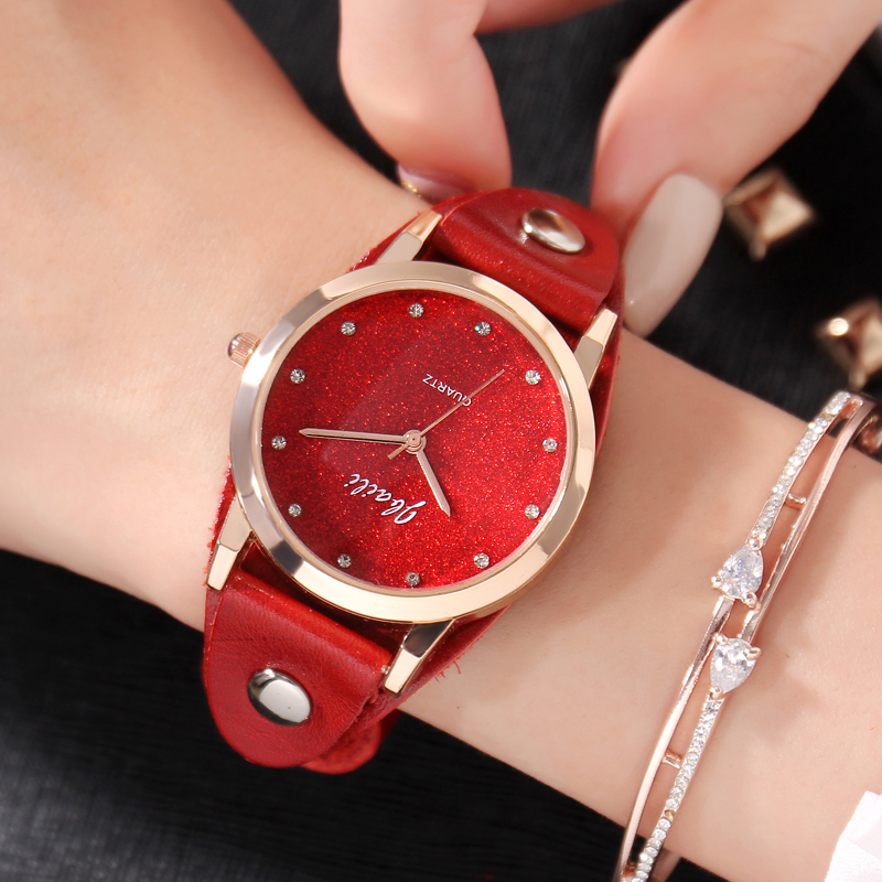 купить JBAILI Fashion Women Crystal Watches Luxury Quartz Watches Leather Watch Bracelet Clock For Gift Relogio feminino по цене 580.02 рублей