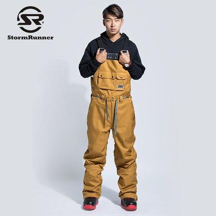 StormRunner Tuta Bretelle Bretelle Uomo Bretelle di Stile In Europa 2018 NUOVI di Spessore Impermeabile E Traspirante Caldo Nero Pantaloni Da Sci Maschile