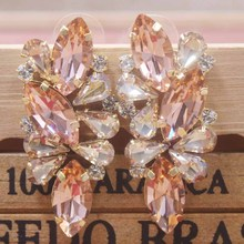 Zerong Colorful rhinestone Earrings With champagne/red/fuchsia glass stone Lady Valentines Day Gifts stud earrings
