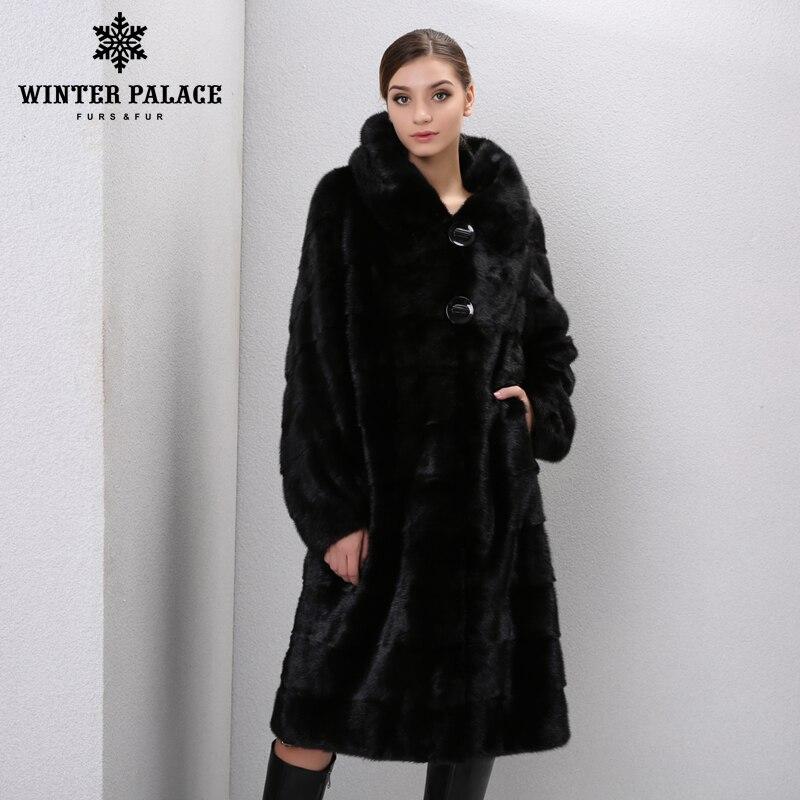 Inverno Genuíno Couro de peles casacos de pele das mulheres longas Da Forma genuína casaco de vison casaco de pele de vison casaco de pele verdadeira