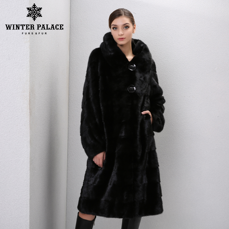 Winter Genuine Leather furs women fur coats Fashion long genuine coat mink fur coat real mink fur coat
