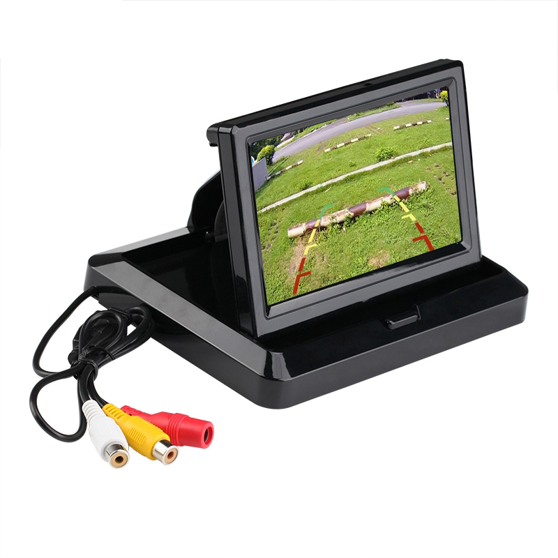 LCD Monitor 5 Car Rear View Monitor Foldable TFT LCD Color Monitor Car Reverse Camera with 2 Video Output