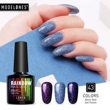 Modelones 10ML Shimmer Neon UV Nail Varnishes Led Lamp Vernis Semi Permanent Gel Polish Art Beauty Rainbow
