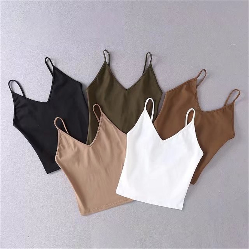 Summer New Sexy Wild Pure Color Harness Bottoming Shirt Female, Self-cultivation V-neck Strapless Short Strap Female