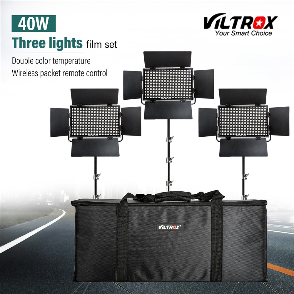 Viltrox VL-40T 3 PCS Estúdio Luz de Vídeo LED Bi-color Slim Dimmable Lâmpada + 3 pcs vertente luz para camera Facebook YouTube show Ao Vivo