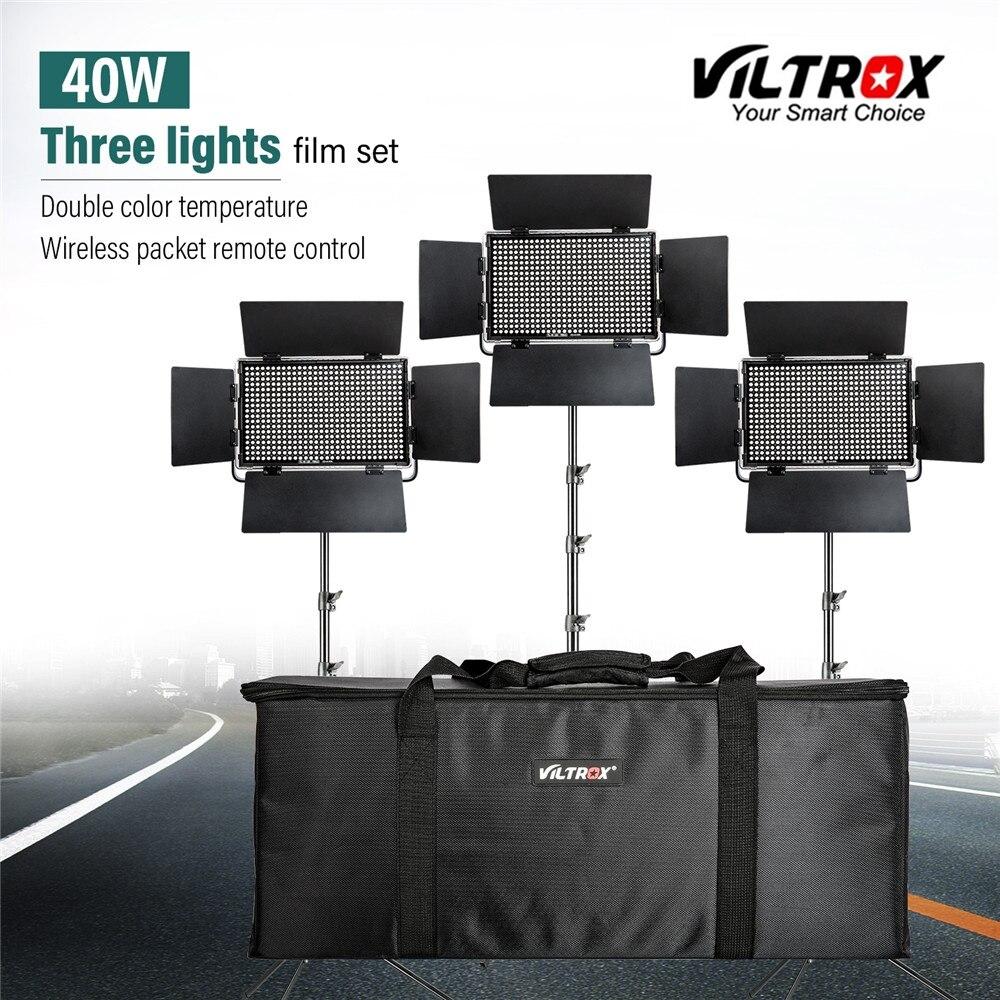 Viltrox VL-40T 3 PCS Video HA CONDOTTO LA Luce Studio Bi-colore Sottile Dimmable Della Lampada + 3 pcs luce strand per camera Facebook YouTube spettacolo Dal Vivo