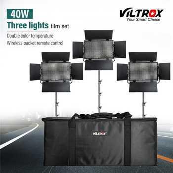 Viltrox VL-40T 3 pièces Vidéo lumière LED Studio bi-couleur Dimmable Mince Lampe + 3 pièces léger pour Appareil Photo Facebook YouTube En Direct