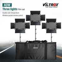 Viltrox VL-40T 3PCS Video LED Light Studio Bi-color Slim Dimmable Lamp + 3pcs light strand for Camera Facebook YouTube show Live