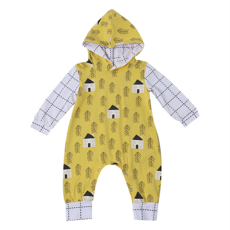 Pudcoco Baby Rompers Newborn Baby Clothes Cartoon Infant  Long Sleeve Hooded Jumpsuits Boy Girl Warm Autumn Clothes Wear 0-24M cotton baby rompers set newborn clothes baby clothing boys girls cartoon jumpsuits long sleeve overalls coveralls autumn winter