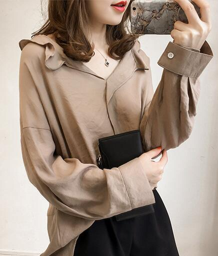 09a8a2a8c51 New Women s 2019 Spring Blouses Shirts Cotton Linen Loose Blouse Shirt  Ladies Fashion Top Casual Plus Size Women Tops Clothing