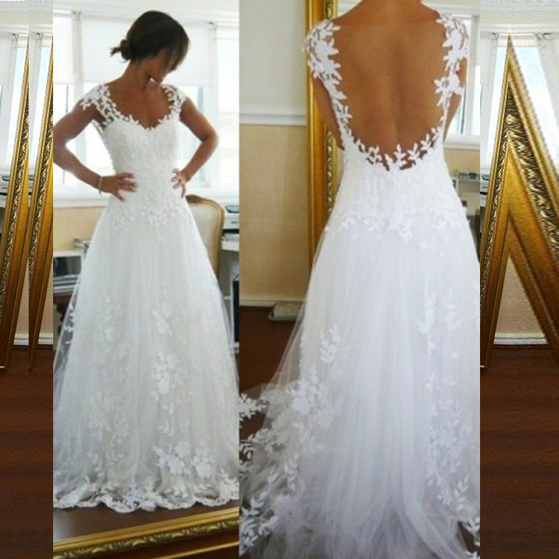 2019 Beach Wedding Dress A-Line Lace Appliques Princess Bride Dress Sweep Train Lace Sleeveless Tulle Wedding Gowns