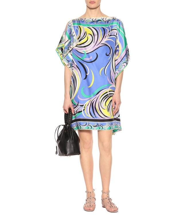 ผู้หญิงใหม่หลวมขนาดใหญ่ Batwing แขนแฟชั่นพิมพ์รอบคอผ้าไหมชุด jersey-ใน ชุดเดรส จาก เสื้อผ้าสตรี บน   1