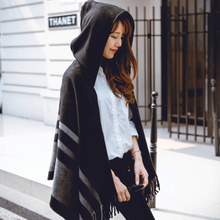 Womens Shawl Scarf With Hat Striped Luxury Style Acrylic Thicken Warm Winter Tassel Scarves Soft Lady Wrap Poncho Cloak