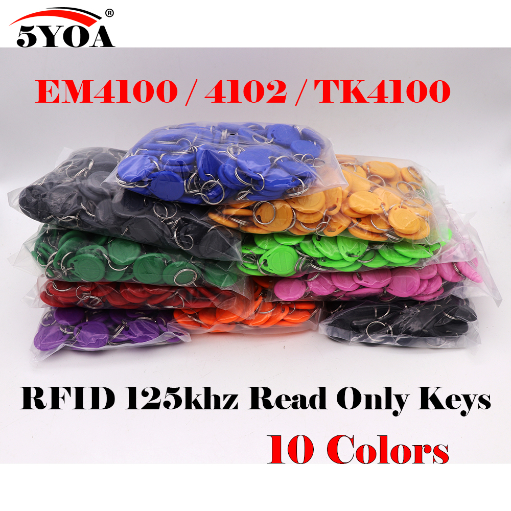 5YOA 1000pcs RFID Tag Proximity ID Token Tag Key Keyfobs Ring 125Khz RFID Card ID Token Tags for Access Control Time Attendance