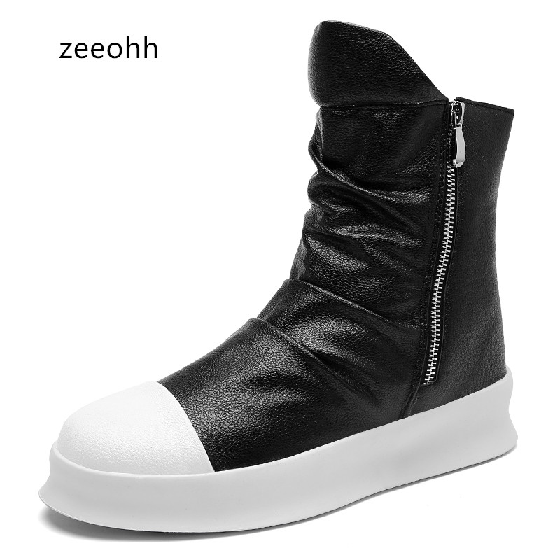 zeeohh Male Hip hop autumn winter Men Chelsea Motorcycle Boots Slip-On Dress Shoes Dancing Footwear Platform High Top Sneakers