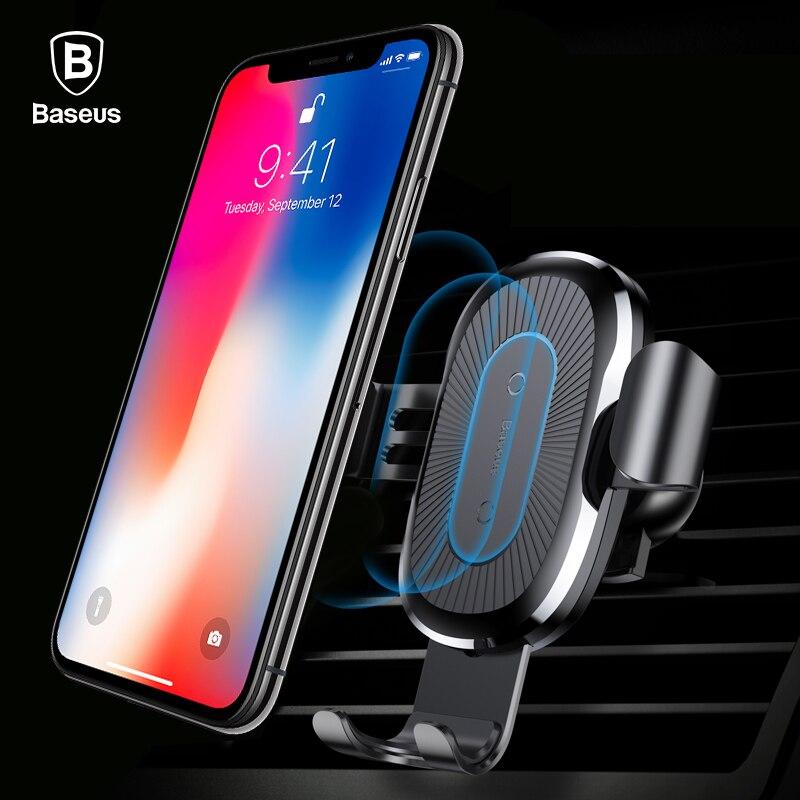 Baseus автомобильное крепление Qi Беспроводной Зарядное устройство для iPhone X 8 плюс зарядка вспышки Беспроводной зарядного устройства Автомобильный держатель Подставка для samsung S9 S8