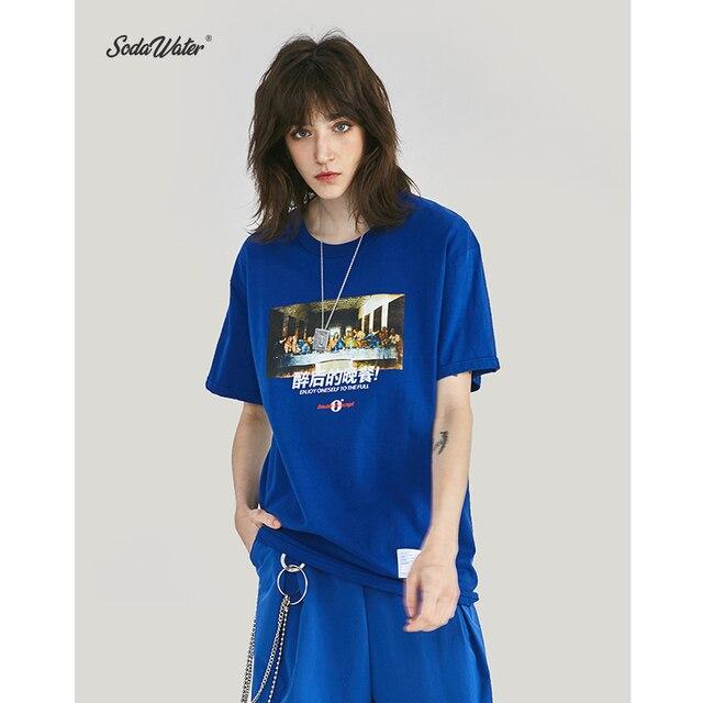 SODA WATER Men High Street Picture Chinese Printed T Shirt Men Streetwear Tshirt Couple Short Sleeve Cotton Tee Shirt ZJ91902S