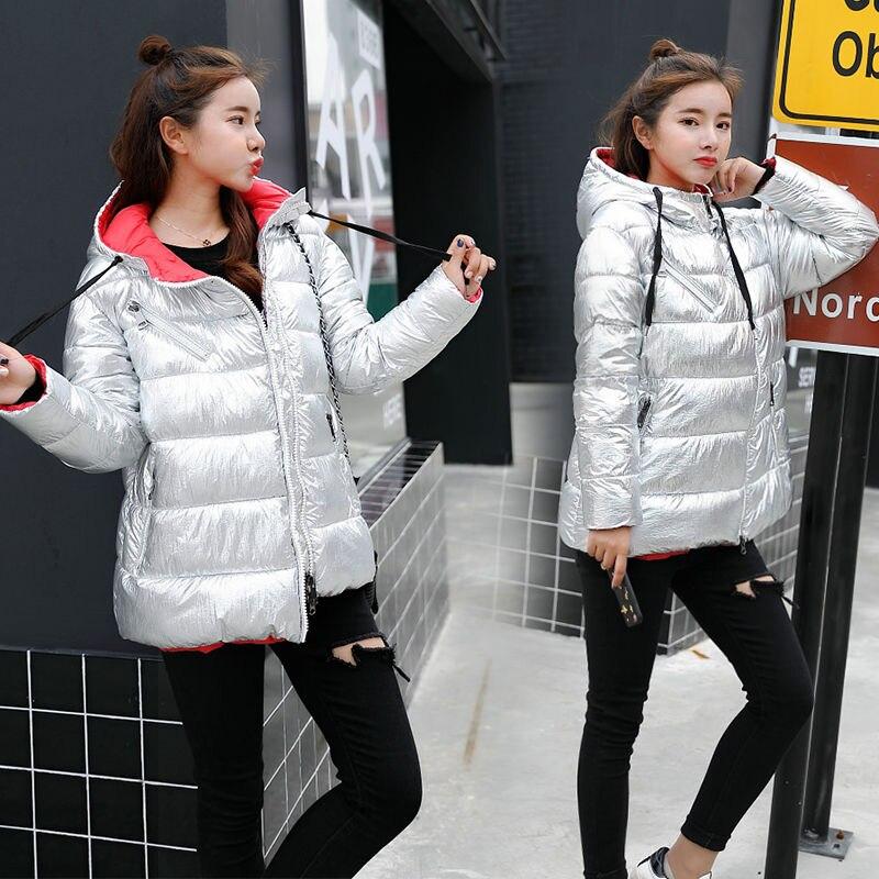 Fashion Silver Bright Jacket Coat Women Winter Warm Down Cotton Short   Parkas   Bread Style Bomber Diagonal zipper Hooded Outwear