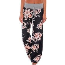 Wanita Longgar Floral Print 2017 Lebar Kaki Celana Longgar Pertengahan Pinggang Lurus Celana Panjang Celana Perempuan Mode Sweatpants Bottoms