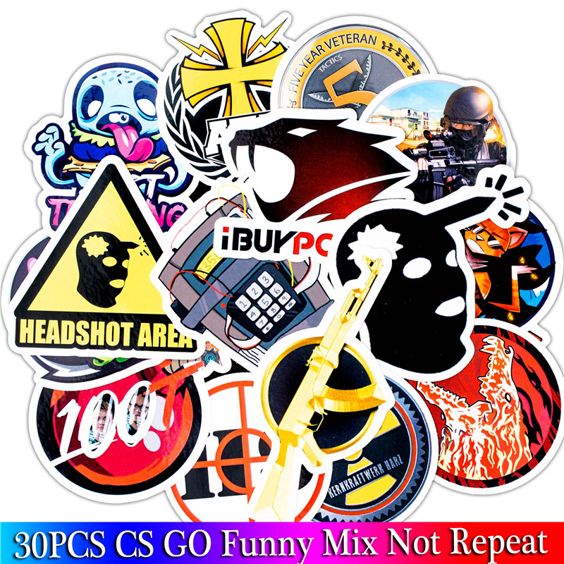 30PCS Pack Cs Go Stickers Set Stickers For Kids Luggage Skateboard Laptop Teem Game Stickers Graffiti Sticker For Home Decor
